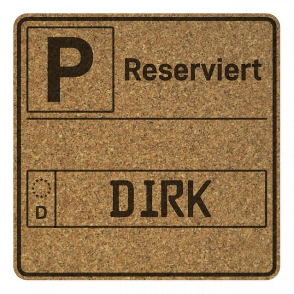 Korkuntersetzer 4er Set mit Namensgravur Kennzeichen