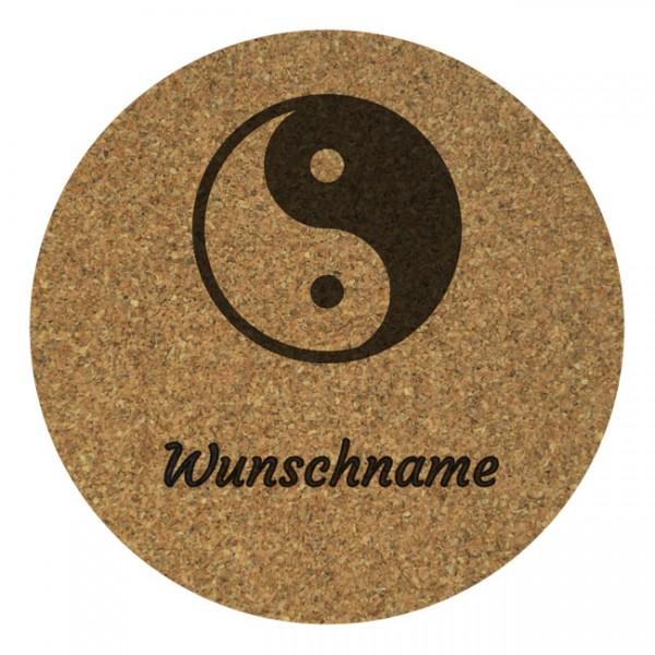 Korkuntersetzer 4er Set mit Namensgravur: Yin & Yang ...